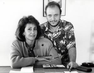 Con Rosa Garceran, entonces Decana de la Facultad de BB.AA, de Madrid.1992